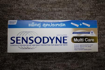 illustrative: CHIANG MAI, THAILAND -JUNE 14 2017:  Product shot of Sensodyne Toothpaste. For Sensitive Teeth.