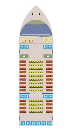 Ferry ship seat map vector and illustration