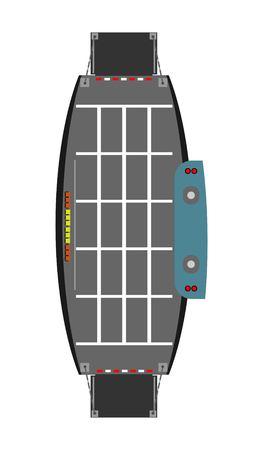 Top view of Car Ferry ship  vector  and illustration Ilustração