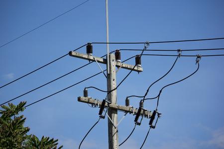 Closeup Eletricity line in blue sky