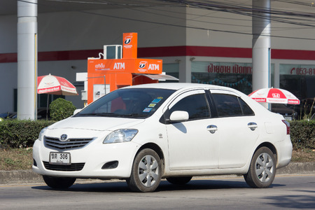 toyota: CHIANG MAI, THAILAND -JANUARY 24 2017: Private City Car, Toyota Vios. Four door subcompact sedan produced by the Japanese manufacturer Toyota. On road no.1001, 8 km from Chiangmai city.