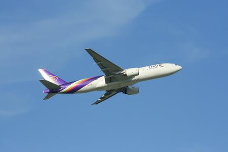 CHIANGMAI, THAILAND- MAY 22 2009 :Boeing 777-200 HS-TJF of Thaiairway. Take off from Chiangmai airport to Bangkok Suvarnabhumi, thailand.