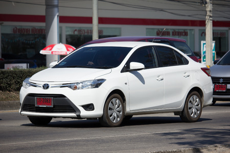 CHIANG MAI, THAILAND -JANUARY 26 2017: Private City Car Toyota Vios. Four door subcompact sedan produced by the Japanese manufacturer Toyota. On road no.1001 8 km from Chiangmai city.