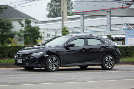 CHIANG MAI, THAILAND - JULY 4 2017: Private car New Honda Civic Hatchback. On road no.1001 North of city about 8 km from Chiangmai Center. Editorial