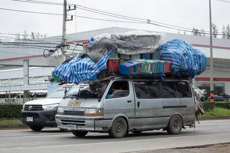 toyota: CHIANG MAI, THAILAND - JULY 4 2017: Over Load on Toyota Commuter Van. Photo at road no.121 about 8 km from downtown Chiangmai thailand. Editorial