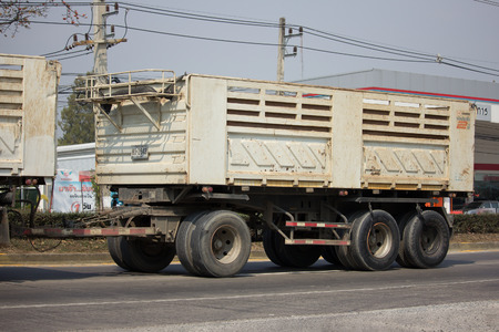 truckload: CHIANG MAI, THAILAND -JANUARY 29 2017: Private Isuzu Dump Truck. On road no.1001 8 km from Chiangmai Business Area.
