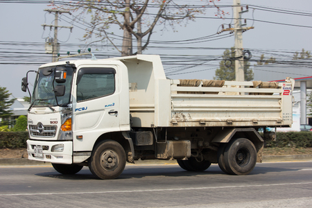 CHIANG MAI, THAILAND -JANUARY 29 2017: Private Hino Dump Truck. On road no.1001 8 km from Chiangmai Business Area.