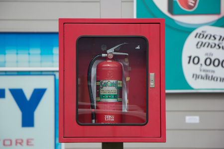 CHIANG MAI, THAILAND - JULY 12  2017: Fire extinguisher of Tesco Lotus Hyper Market Meechok. Location on road no.1101 about 3 km from chiangmai city. Chiangmai Thailand.