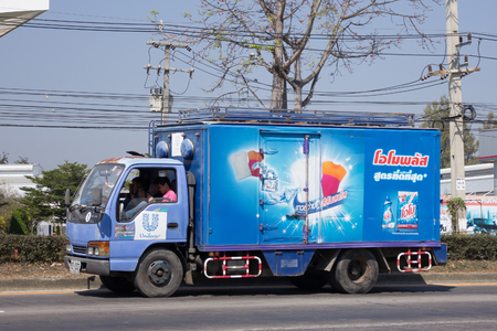 refrigerator: CHIANG MAI, THAILAND -FEBRUARY 20 2017: Container truck of Unilever company. Photo at road no.121 about 8 km from downtown Chiangmai, thailand. Editorial