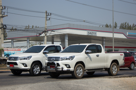 CHIANG MAI, THAILAND -FEBRUARY 27 2017: Private Pickup Truck Car Toyota Hilux Revo. On road no.1001, 8 km from Chiangmai city.