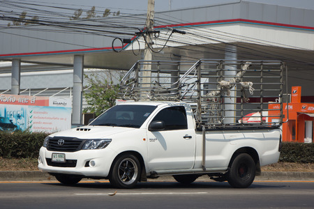 truck: CHIANG MAI, THAILAND -FEBRUARY 27 2017: Private Pickup Truck Car Toyota Hilux Vigo. On road no.1001, 8 km from Chiangmai city. Editorial