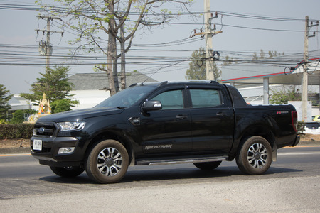 truck: CHIANG MAI, THAILAND -MARCH 3 2017: Private Pickup car, Ford Ranger. On road no.1001, 8 km from Chiangmai city.