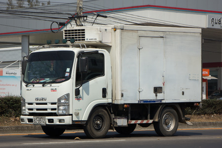 heavy: CHIANG MAI, THAILAND -MARCH 3 2017: Cold Container Truck for Ice Transportation. Photo at road no.121 about 8 km from downtown Chiangmai, thailand.