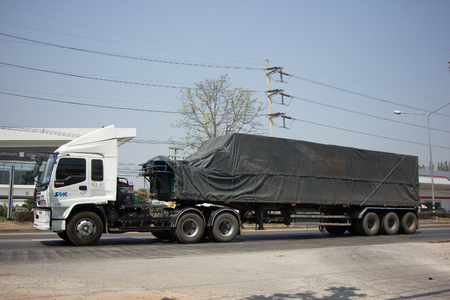delivery truck: CHIANG MAI, THAILAND -MARCH 3 2017: Container truck of SMK Logistics Transportation company. Photo at road no.121 about 8 km from downtown Chiangmai, thailand. Editorial