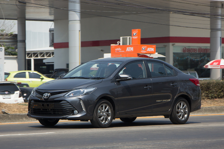 CHIANG MAI, THAILAND -MARCH 3 2017: Private Sedan car New Toyota Vios Test Drive. On road no.1001 8 km from Chiangmai Business Area.