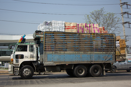 truckload: CHIANG MAI, THAILAND -MARCH 3 2017: Private  Old Hino Sumo 226  Cargo Truck. Photo at road no.1001 about 8 km from city center, thailand. Editorial