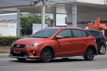 CHIANG MAI, THAILAND - APRIL 21 2017: Private car toyota Yaris Eco Car. TRD Sportivo. Photo at road no 121 about 8 km from downtown Chiangmai thailand. Editorial
