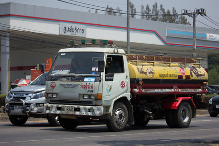 CHIANG MAI, THAILAND - APRIL 21 2017: Private Old Hino Oil Truck. Photo at road no.1001 about 8 km from city center, thailand.