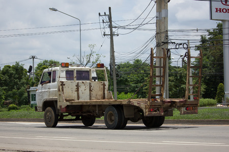truckload: CHIANG MAI, THAILAND - JULY 16  2017: Private Old Isuzu Truck. On road no.1001 8 km from Chiangmai Business Area.