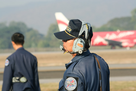 ware: CHIANG MAI , THAILAND - JANUARY 12 2008: Technical Team  of L-39 Albatros of Royal Thai Air force. Show in Children Day. Photo at Chiangmai international Airport. Editorial