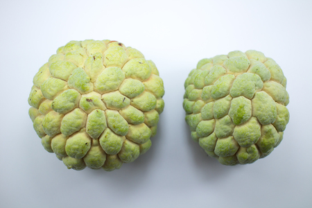 Close up of custard apple friut isolated on white background