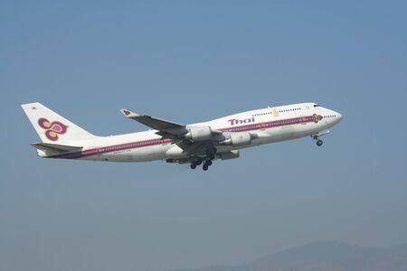 boeing 747: CHIANGMAI , THAILAND- JANUARY 12 2008: HS-TGA Boeing 747-400 of Thaiairway. Takeoff from Chiangmai airport to Bangkok Suvarnabhumi, thailand.