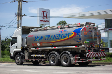 CHIANG MAI, THAILAND - JULY 27  2017:  Oil Truck of Mon Oil transport Company. On Truck on road no.1001, 8 km from Chiangmai city. Editorial
