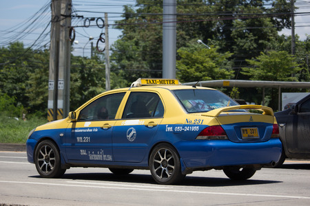 CHIANG MAI, THAILAND - JULY 27  2017:  City taxi Meter chiangmai, Mitsubishi Lancer, Service in city. On road no.1001, 8 km from Chiangmai Business Area.