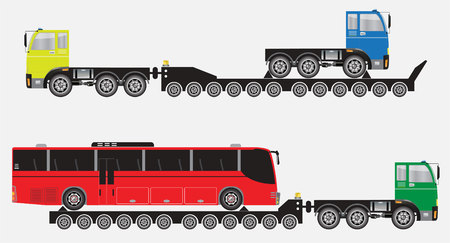 oversize: Set of Many Wheel Trailer and Truck for Heavy Weight Transportation Vector and Illustration. Illustration