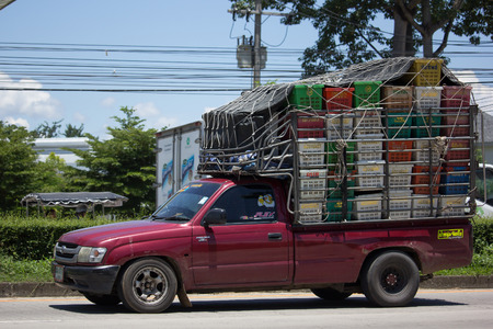 CHIANG MAI, THAILAND - JULY 27  2017: Private old Pickup car, Toyota Hilux Mighty X. On road no.1001, 8 km from Chiangmai city.