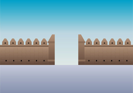 Old gate Tha Phae gate in Thailand, Chiangmai vector illustration 向量圖像