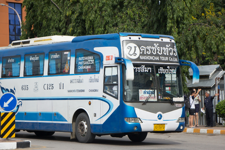 CHIANG MAI, THAILAND - AUGUST 12  2017: Benz  Bus of Nakhonchai tour company. Route Nakhon ratchasima and Chiangmai. Photo at Chiangmai bus station thailand.