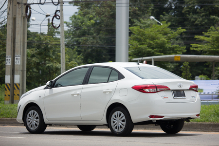 CHIANG MAI, THAILAND - AUGUEST 29  2017:  New Private Sedan car toyota Yaris ATIV Eco Car.  Photo at road no 121 about 8 km from downtown Chiangmai thailand.