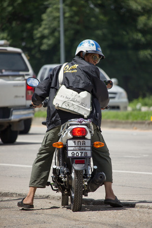 CHIANG MAI, THAILAND - AUGUEST 22  2017: Old Man and Private Suzuki GD110HU Motorcycle. On road no.1001, 8 km from Chiangmai Business Area. Editorial