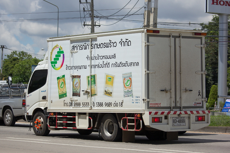 co operative: CHIANG MAI, THAILAND - AUGUST 22  2017: Rice Container of PHRAO AGRICULTURAL MARKETING CO OPERATIVE LIMITED. Photo at Chiangmai bus station, thailand.