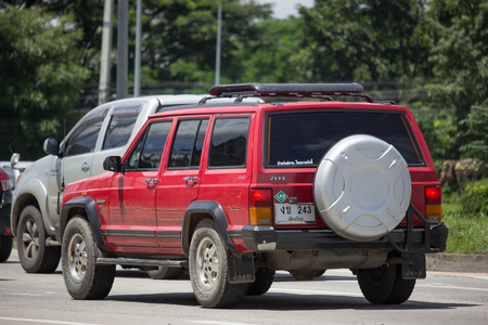 CHIANG MAI, THAILAND - AUGUST 22  2017: Private jeep 4X4 Cherokee car. On road no.1001, 8 km from Chiangmai city.