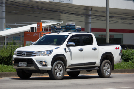 CHIANG MAI, THAILAND - AUGUST 22  2017:  Private Toyota Hilux Revo Double Cab Pickup Truck.  On road no.1001 8 km from Chiangmai city.