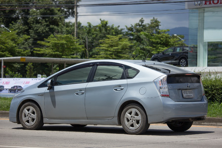 CHIANG MAI, THAILAND - AUGUST 22  2017: Private car Toyota Prius Hybrid System. On road no.1001 8 km from Chiangmai Business Area.