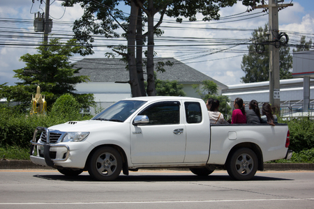 CHIANG MAI, THAILAND - AUGUST 28  2017: Private Toyota Hilux Vigo  Pickup Truck with Passenger.  On road no.1001 8 km from Chiangmai city.