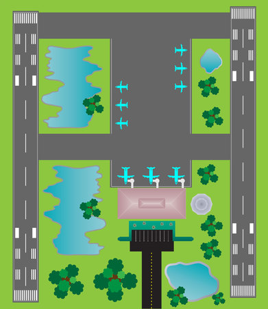 Airport Layout top View, runway parking taxiway and Building Detail Illustration