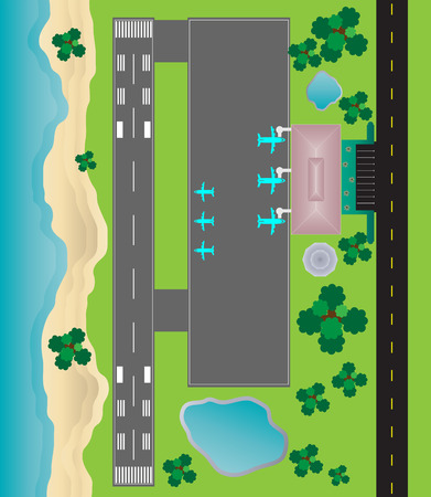 Airport Layout top View  runway parking taxiway and Building Detail with Seascape