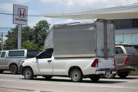 CHIANG MAI, THAILAND -SEPTEMBER 4 2017: Private Pickup Truck Car Toyota Hilux Revo with Container. On road no.1001, 8 km from Chiangmai city. Editorial