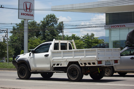CHIANG MAI, THAILAND -SEPTEMBER 4 2017: Private Pickup Truck Car Toyota Hilux Revo with Dump. On road no.1001, 8 km from Chiangmai city.