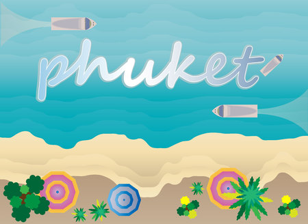 Top View of Tropical Asia Phuket sea and Beach Vector