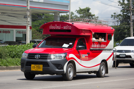 CHIANG MAI, THAILAND -SEPTEMBER 5 2017: Toyota Hilux Revo Orange mini truck taxi chiangmai, Service between city and Phrao district of Prempracha Company. Editorial