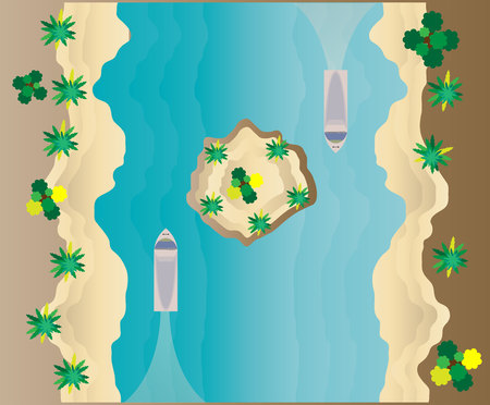 Top View of Tropical island sea and Beach