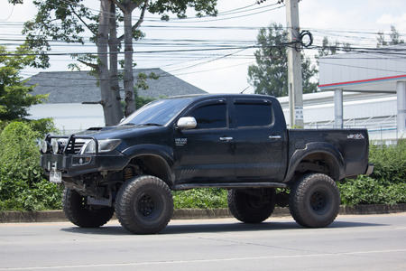 CHIANG MAI, THAILAND -SEPTEMBER 12 2017: Private Toyota Hilux Vigo  Pickup Truck.  On road no.1001 8 km from Chiangmai city.