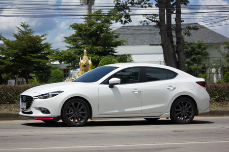 CHIANG MAI, THAILAND -SEPTEMBER 14 2017: Private car, Mazda3. Photo at road no.121 about 8 km from downtown Chiangmai, thailand.
