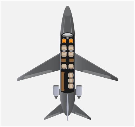 Top View Seat Map of Small Private Jet Aircraft Ilustração