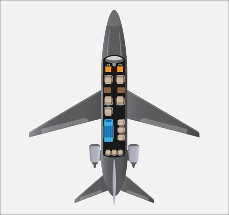 Top View  Seat Map of Small Air Ambulance Jet Airplane